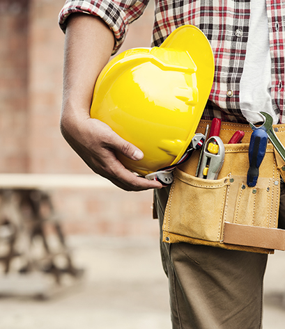 Fully prepared construction company worker